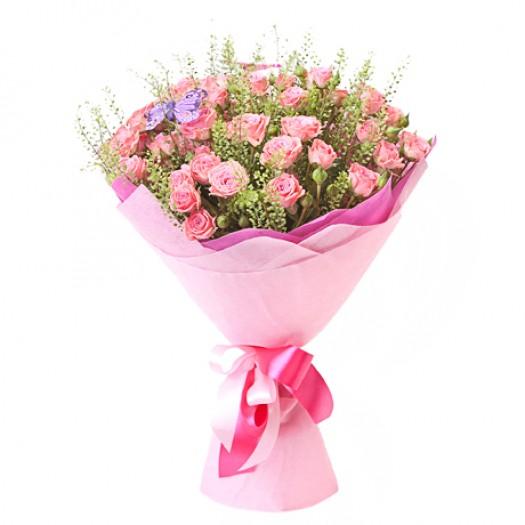 9 кустовых роз с зеленью