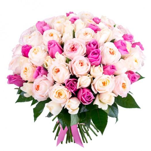 101 роза «Нежное ассорти»
