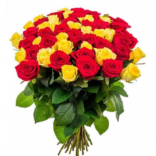 51 красная и желтая роза