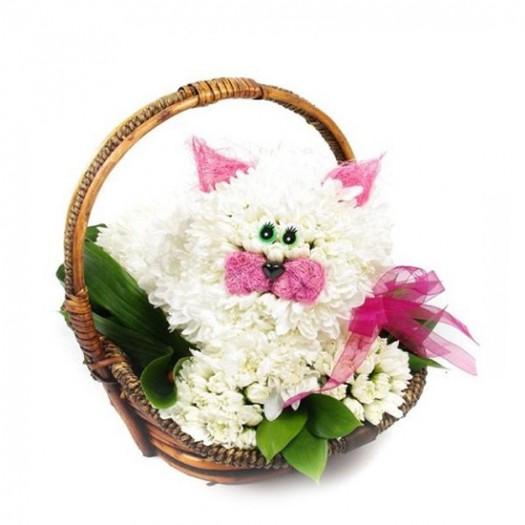 Белый котенок в корзинке из живых цветов