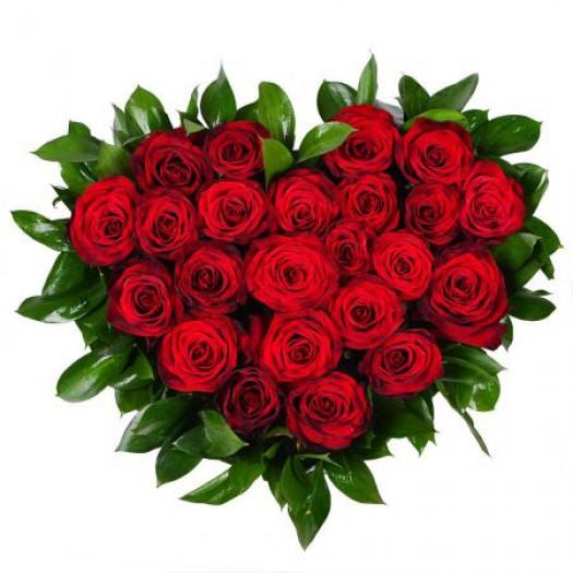 «Сердце 21 красная роза»
