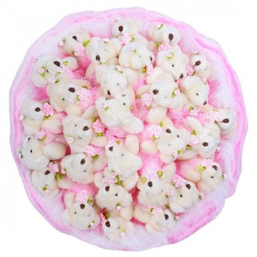 Букет из игрушек «29 розовых медвежат»