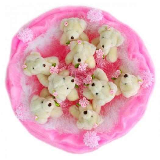 Букет из игрушек «9 розовых медвежат»