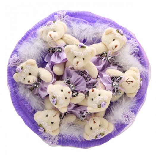 Букет из игрушек «9 сиреневых медвежат»