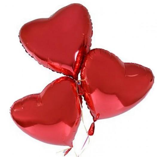 Шарики фольгированные «Красные Сердца» поштучно