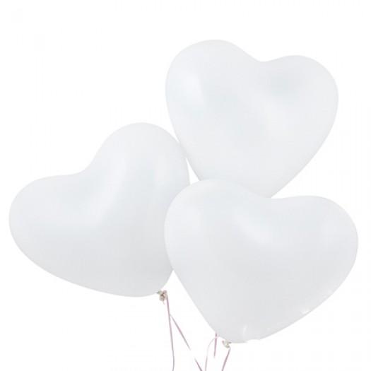 Шарики с гелием «Белое сердце»